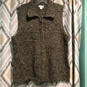 Christopher Banks Woman Sweater Vest Green ZIP Up